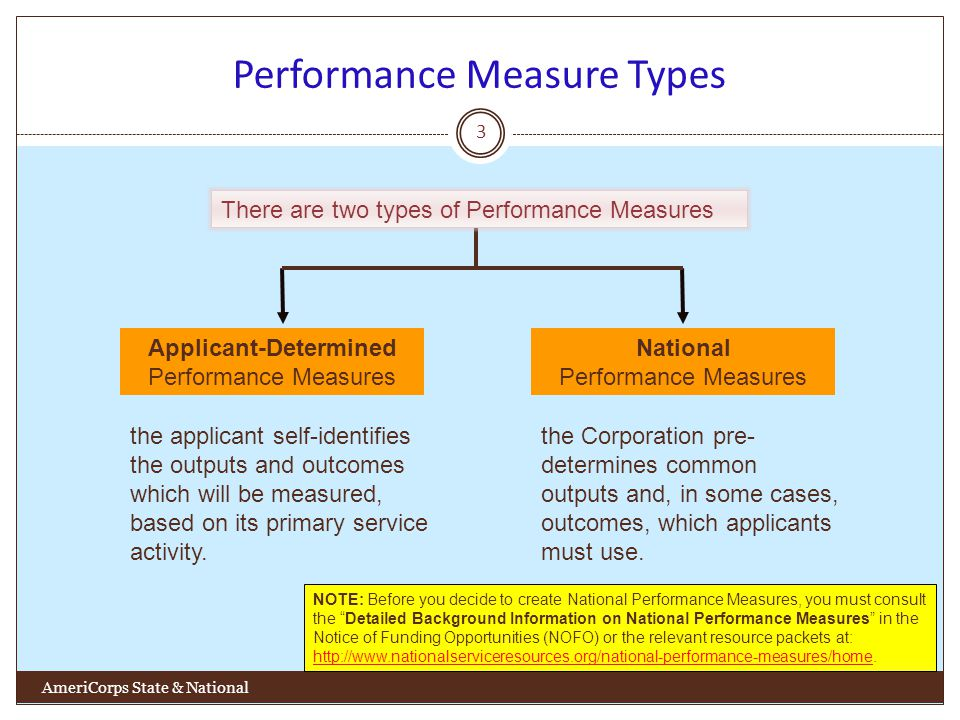 Performance Measure Types 3 AmeriCorps State & National Applicant-Determined Performance Measures National Performance Measures the applicant self-identifies the outputs and outcomes which will be measured, based on its primary service activity.