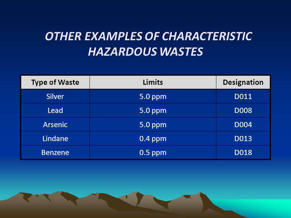 Type of WasteLimitsDesignation Silver5.0 ppmD011 Lead5.0 ppmD008 Arsenic5.0 ppmD004 Lindane0.4 ppmD013 Benzene0.5 ppmD018 OTHER EXAMPLES OF CHARACTERI