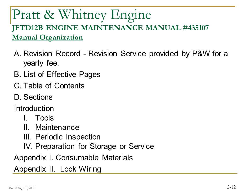 Rev. A Sept 18, 2007 2-12 Pratt & Whitney Engine JFTD12B ENGINE MAINTENANCE MANUAL #435107 Manual Organization A.Revision Record - Revision Service pr