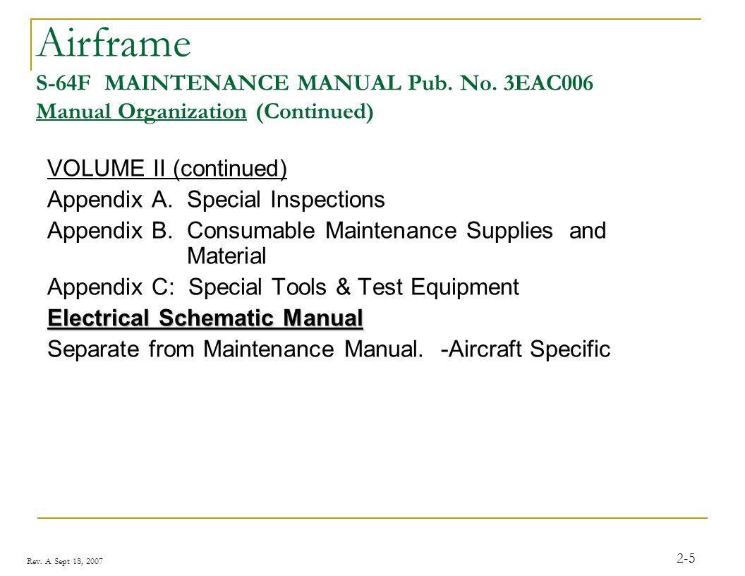 Rev. A Sept 18, 2007 2-5 Airframe S-64F MAINTENANCE MANUAL Pub. No. 3EAC006 Manual Organization (Continued) VOLUME II (continued) Appendix A. Special