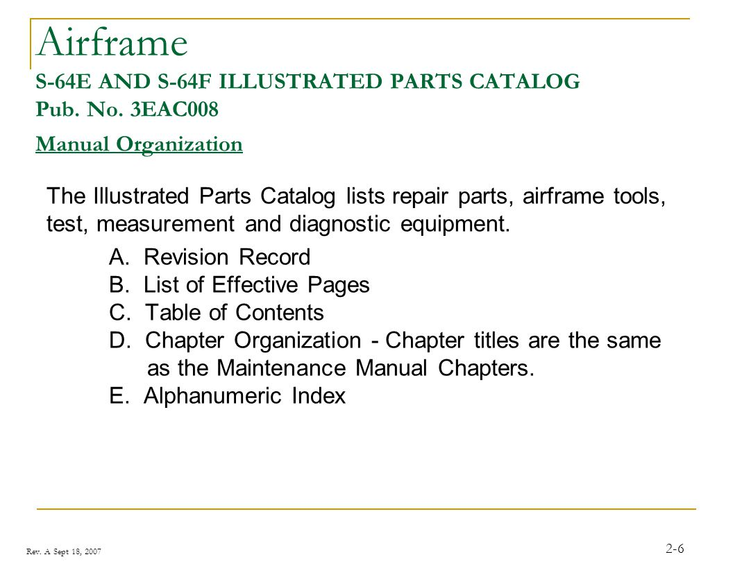 Rev. A Sept 18, 2007 2-6 Airframe S-64E AND S-64F ILLUSTRATED PARTS CATALOG Pub. No. 3EAC008 Manual Organization The Illustrated Parts Catalog lists r