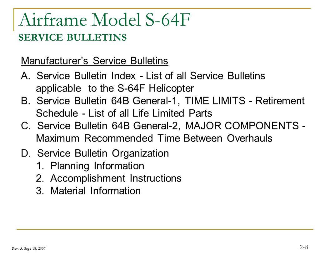 Rev.A Sept 18, 2007 2-9 Airframe MANUFACTURERS PROGRESSIVE INSPECTION CHECKLIST ZONE NO.