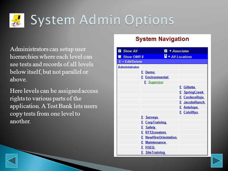 This is where Administrators setup new Users, navigate to lower levels, or create user access codes in optional pay-per-test configurations.