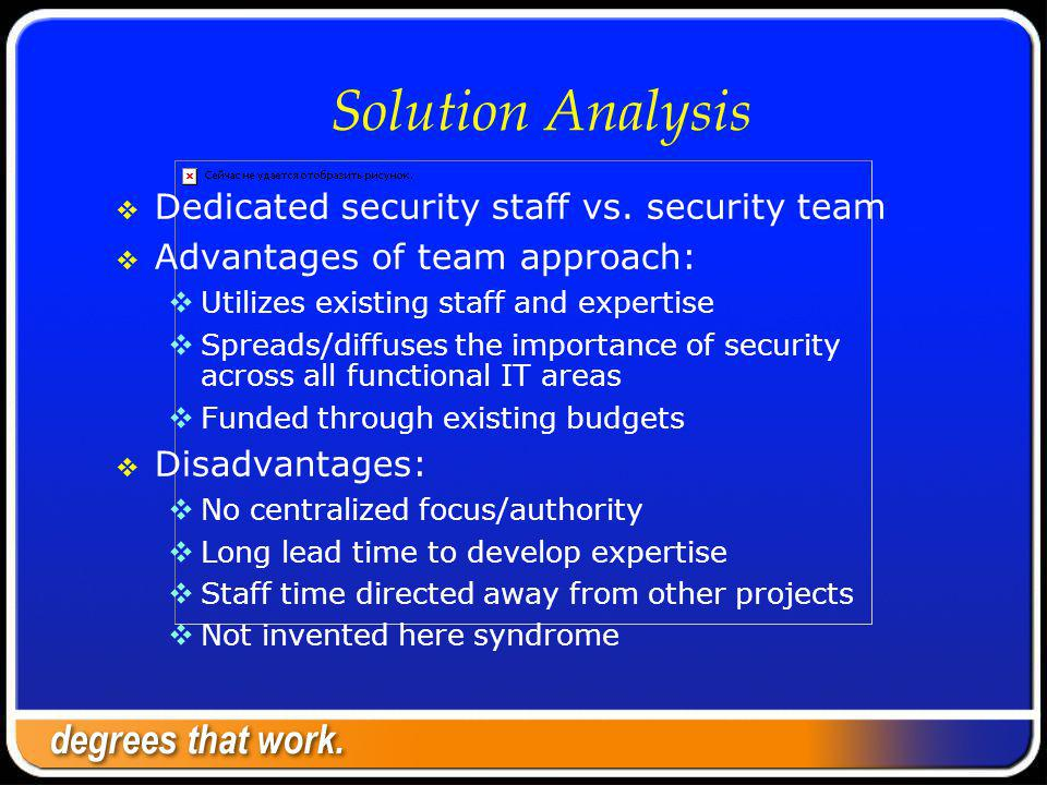 Solution Analysis Dedicated security staff vs.