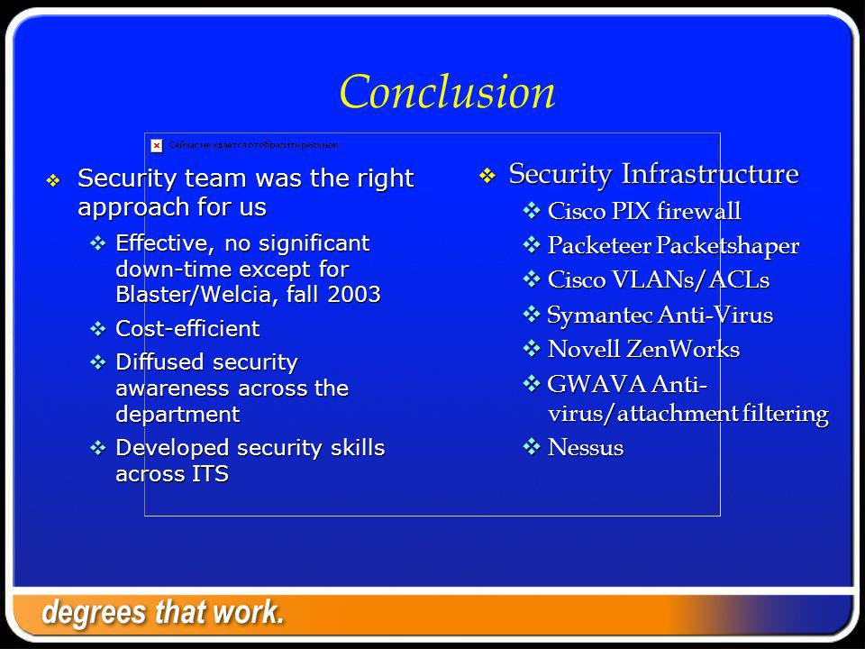 Conclusion Security team was the right approach for us Security team was the right approach for us Effective, no significant down-time except for Blaster/Welcia, fall 2003 Effective, no significant down-time except for Blaster/Welcia, fall 2003 Cost-efficient Cost-efficient Diffused security awareness across the department Diffused security awareness across the department Developed security skills across ITS Developed security skills across ITS Security Infrastructure Security Infrastructure Cisco PIX firewall Cisco PIX firewall Packeteer Packetshaper Packeteer Packetshaper Cisco VLANs/ACLs Cisco VLANs/ACLs Symantec Anti-Virus Symantec Anti-Virus Novell ZenWorks Novell ZenWorks GWAVA Anti- virus/attachment filtering GWAVA Anti- virus/attachment filtering Nessus Nessus