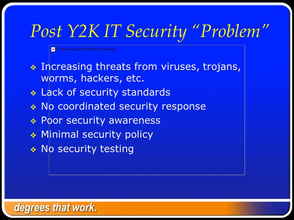 Post Y2K IT Security Problem Increasing threats from viruses, trojans, worms, hackers, etc.