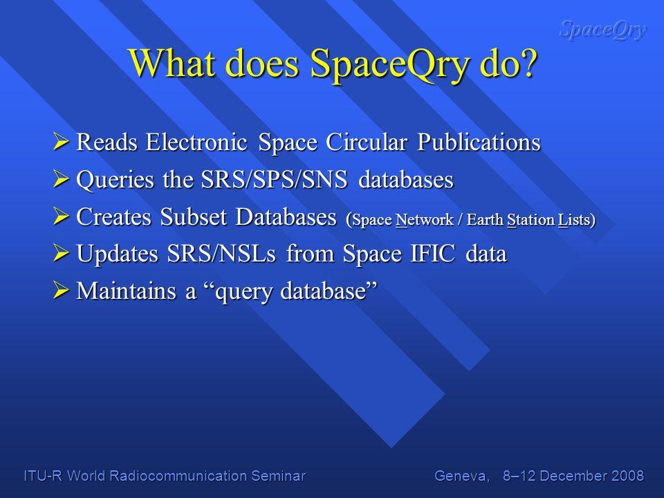 ITU-R World Radiocommunication Seminar Geneva, 8–12 December 2008 What does SpaceQry do.