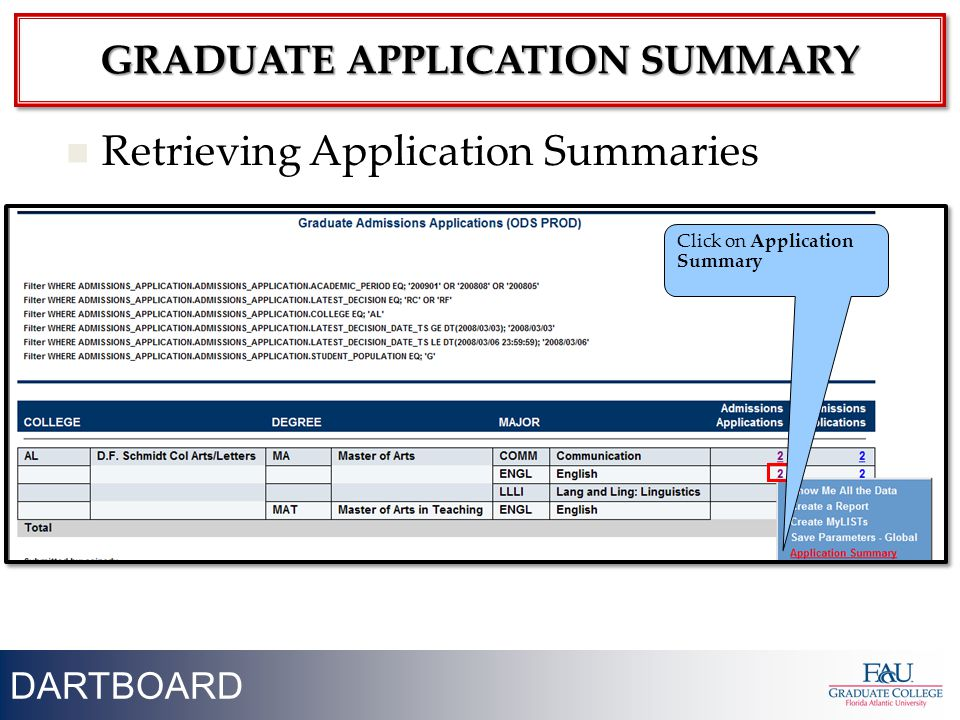 18 Retrieving Application Summaries DARTBOARD GRADUATE APPLICATION SUMMARY Click on Application Summary