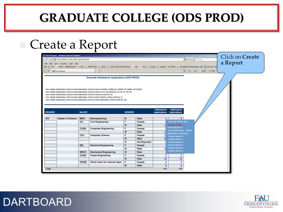 24 Create a Report Click on Create a Report DARTBOARD GRADUATE COLLEGE (ODS PROD)