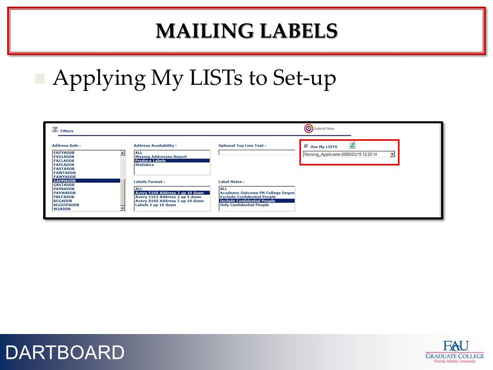 38 Applying My LISTs to Set-up MAILING LABELS DARTBOARD