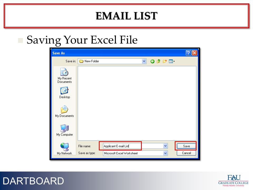 45 Saving Your Excel File DARTBOARD EMAIL LIST