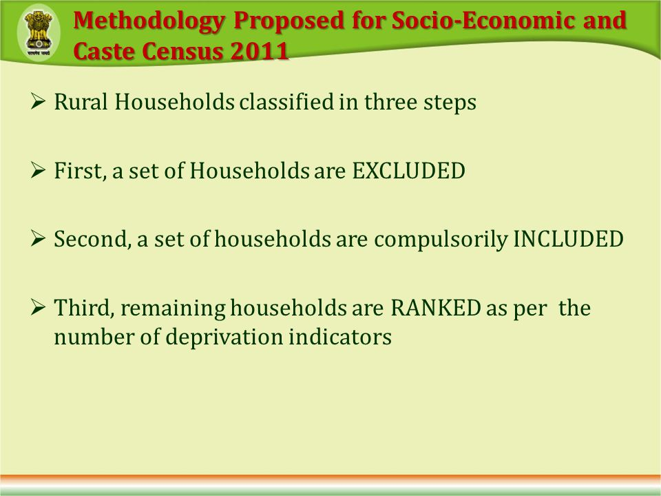 Rural Households classified in three steps First, a set of Households are EXCLUDED Second, a set of households are compulsorily INCLUDED Third, remaining households are RANKED as per the number of deprivation indicators Methodology Proposed for Socio-Economic and Caste Census 2011