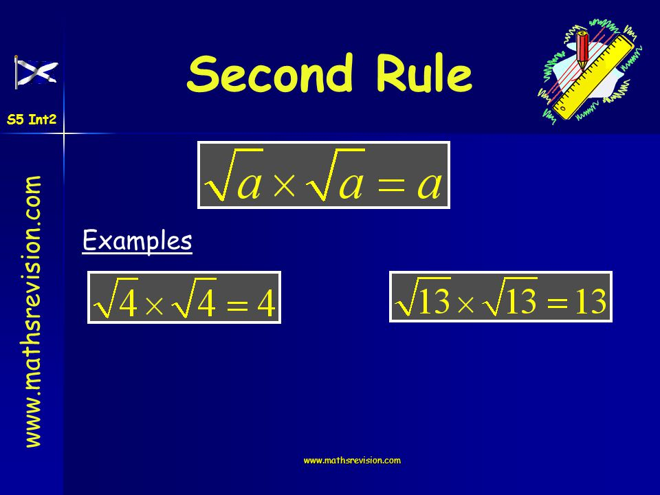 www.mathsrevision.com Second Rule Examples S5 Int2