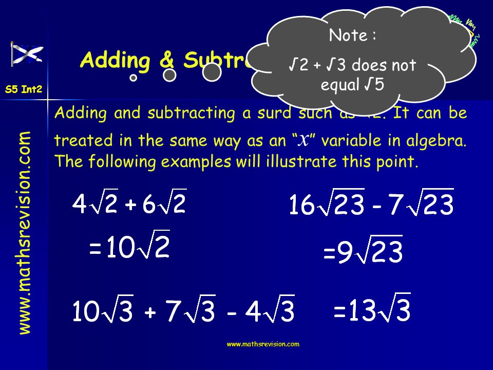 www.mathsrevision.com First Rule List the first 10 square numbers Examples 1, 4, 9, 16, 25, 36, 49, 64, 81, 100 S5 Int2