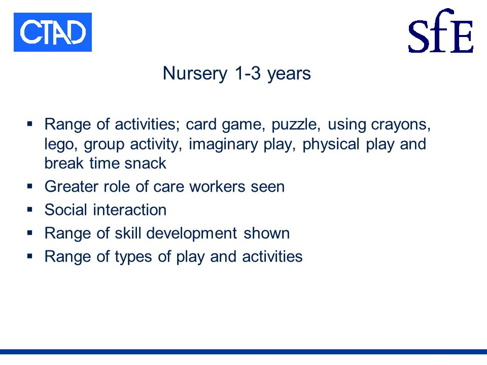 Nursery 1-3 years Range of activities; card game, puzzle, using crayons, lego, group activity, imaginary play, physical play and break time snack Greater role of care workers seen Social interaction Range of skill development shown Range of types of play and activities