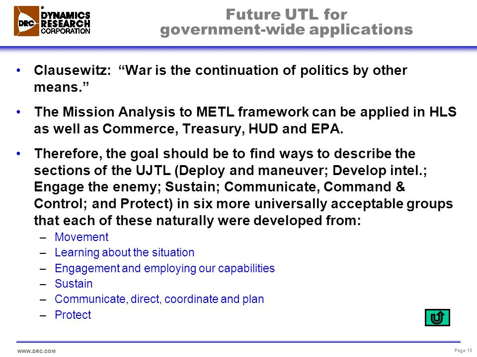 WWW.DRC.COM Page 15 Future UTL for government-wide applications Clausewitz: War is the continuation of politics by other means. The Mission Analysis t