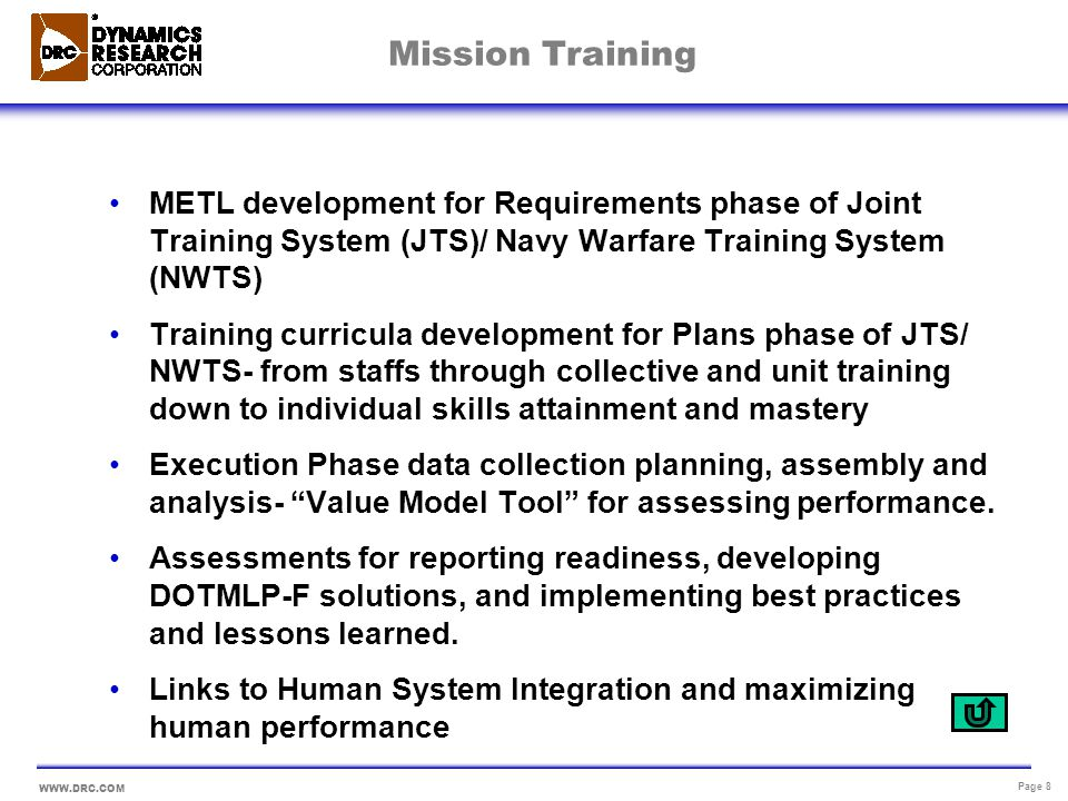 WWW.DRC.COM Page 9 Readiness DRRS is MET-based. METLs should help us get to Metrics that matter!