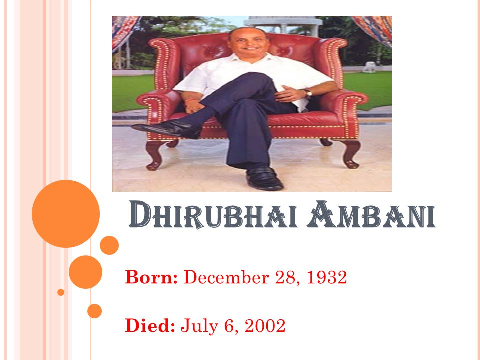 D HIRUBHAI A MBANI WAS BORN ON 28 D ECEMBER 1932 AT K UKASWADA NEAR C HORWAD, J UNAGADH DISTRICT ( NOW THE STATE OF G UJARAT, I NDIA ) TO H IRACHAND G ORDHANDHAS A MBANI AND J AMNABEN IN A M ODH FAMILY OF MODEST MEANS ( INCIDENTALLY, THE G ANDHIS AND A MBANIS CAME FROM THE SAME GOTHRA, THE TRADING COMMUNITY OF M ODH BANIYAS ).J UNAGADH DISTRICTG UJARATI NDIAM ODH