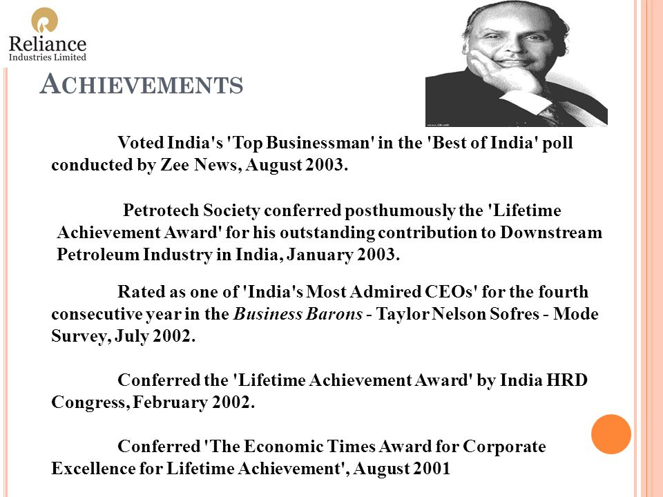 A CHIEVEMENTS Voted India s Top Businessman in the Best of India poll conducted by Zee News, August 2003.