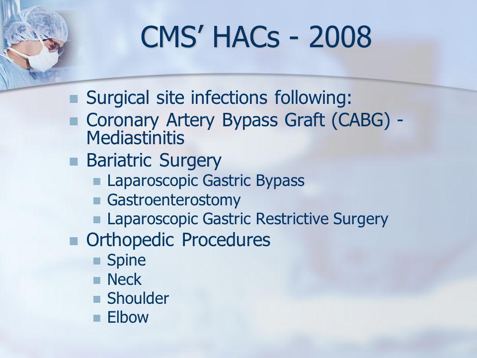 Surgical site infections following: Coronary Artery Bypass Graft (CABG) - Mediastinitis Bariatric Surgery Laparoscopic Gastric Bypass Gastroenterostom