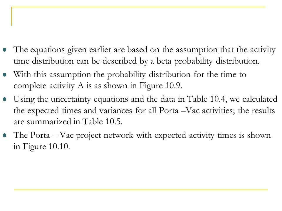 The equations given earlier are based on the assumption that the activity time distribution can be described by a beta probability distribution. With