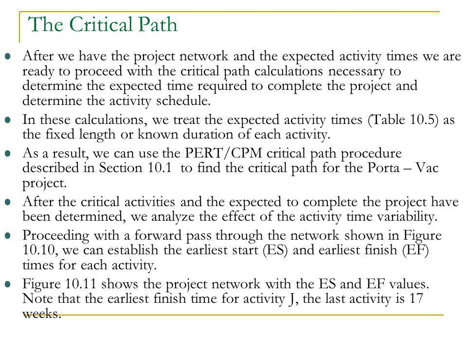 The Critical Path After we have the project network and the expected activity times we are ready to proceed with the critical path calculations necess