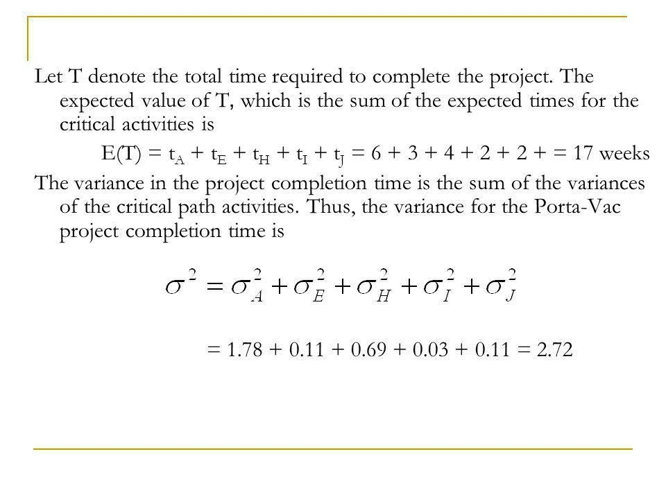 The formula for σ 2 is based on the assumption that the activity times are independent.