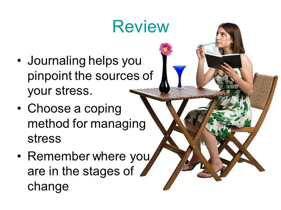 Review Journaling helps you pinpoint the sources of your stress.
