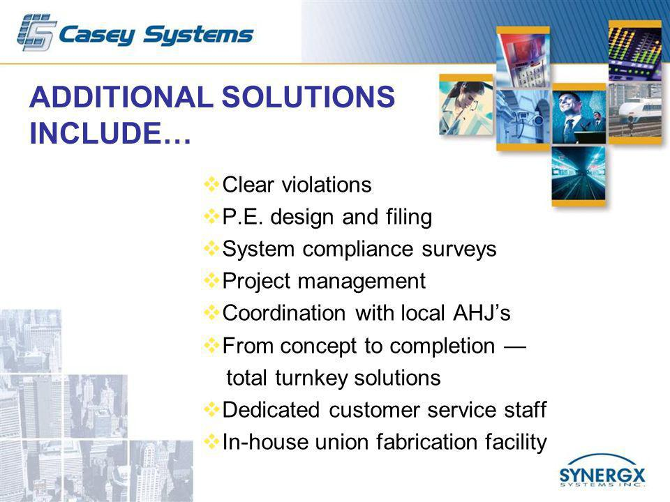 ADDITIONAL SOLUTIONS INCLUDE… Clear violations P.E.