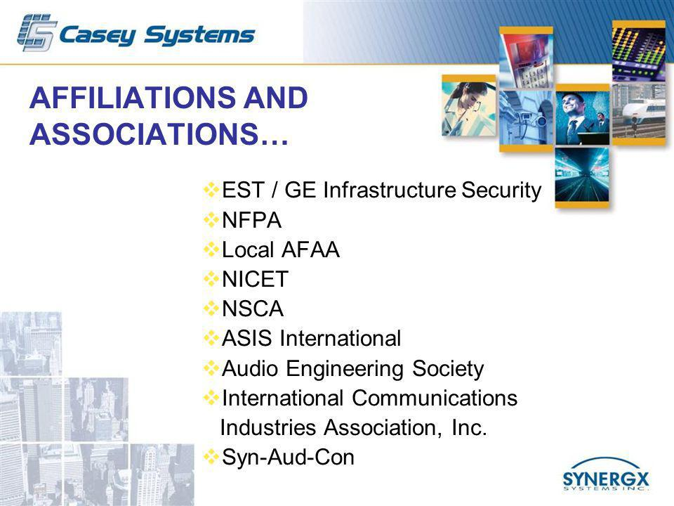 AFFILIATIONS AND ASSOCIATIONS… EST / GE Infrastructure Security NFPA Local AFAA NICET NSCA ASIS International Audio Engineering Society International Communications Industries Association, Inc.
