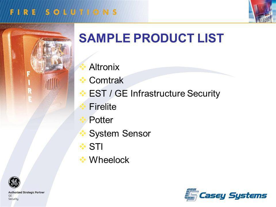 SAMPLE PRODUCT LIST Altronix Comtrak EST / GE Infrastructure Security Firelite Potter System Sensor STI Wheelock