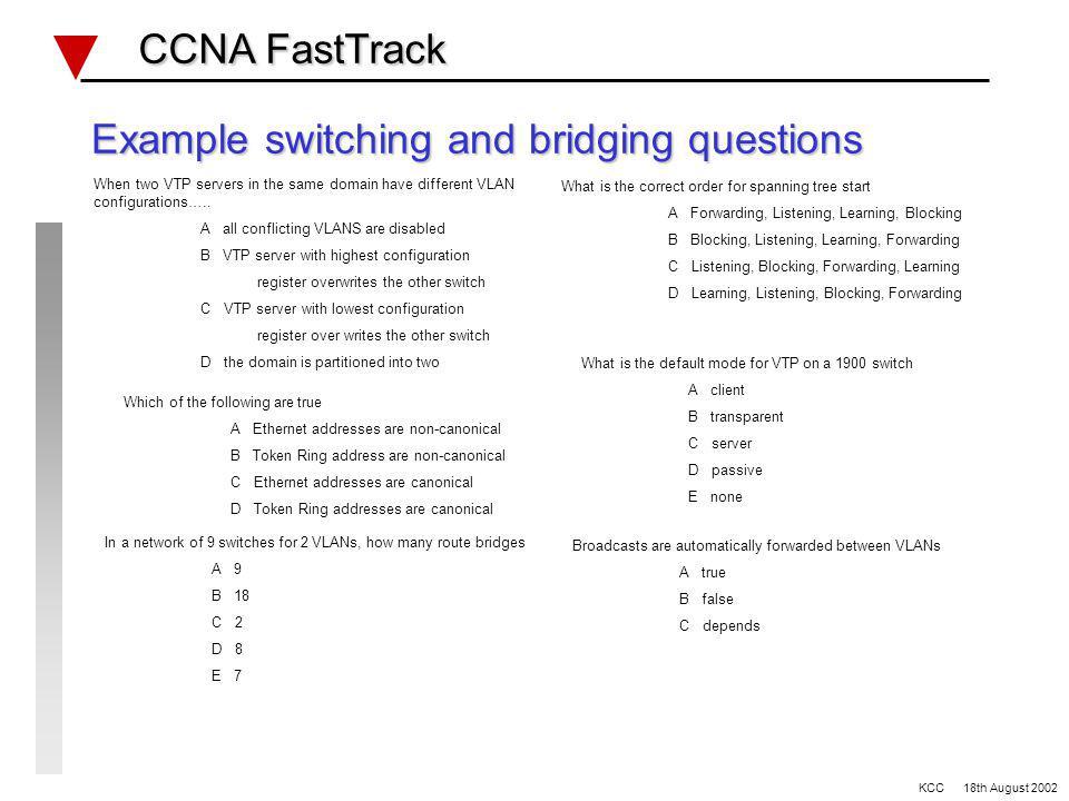 Switching and Bridging Review CCNA FastTrack CCNA FastTrack VLANs Broadcast domains/Collision domains Spanning Tree (802.1d/DEC/IBM) VTP modes (server