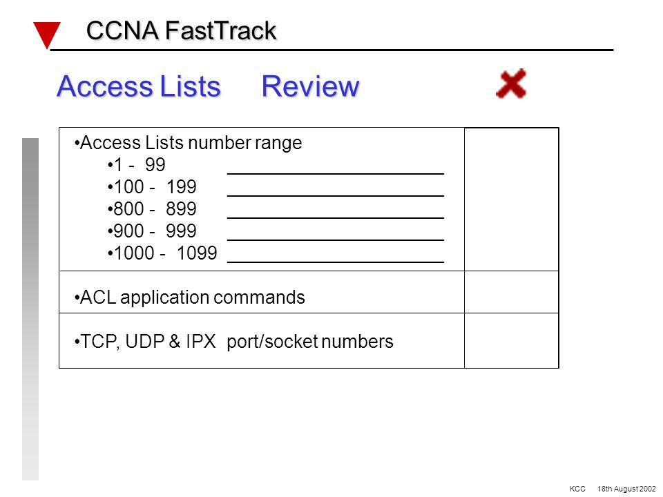 Routing and Access Lists CCNA FastTrack CCNA FastTrack Ref: Lab #3 OSPF IPX Routing SNMP Access Lists KCC 18th August 2002