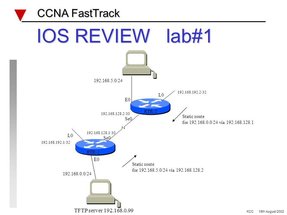 Progress CCNA FastTrack CCNA FastTrack IOS Fundamentals OSI Layers Bridges & Switches Network Protocols Routing Access Lists WAN and design Site specific items BEFORE TRAINING AFTER DAY ONE AFTER DAY TWO KCC 18th August 2002