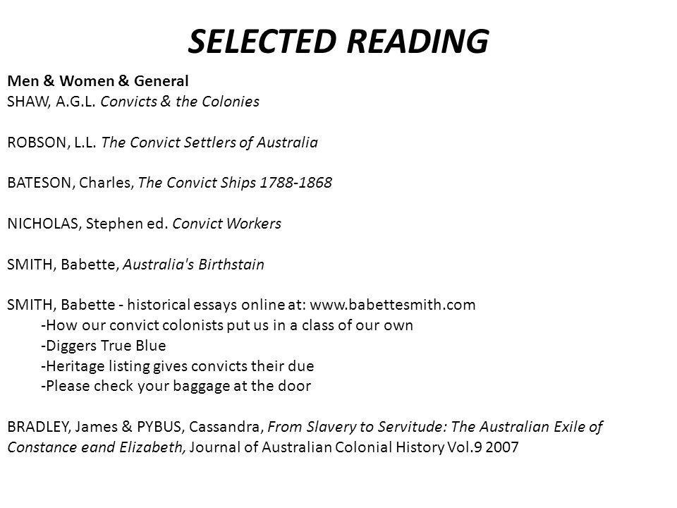 SELECTED READING Men & Women & General SHAW, A.G.L.