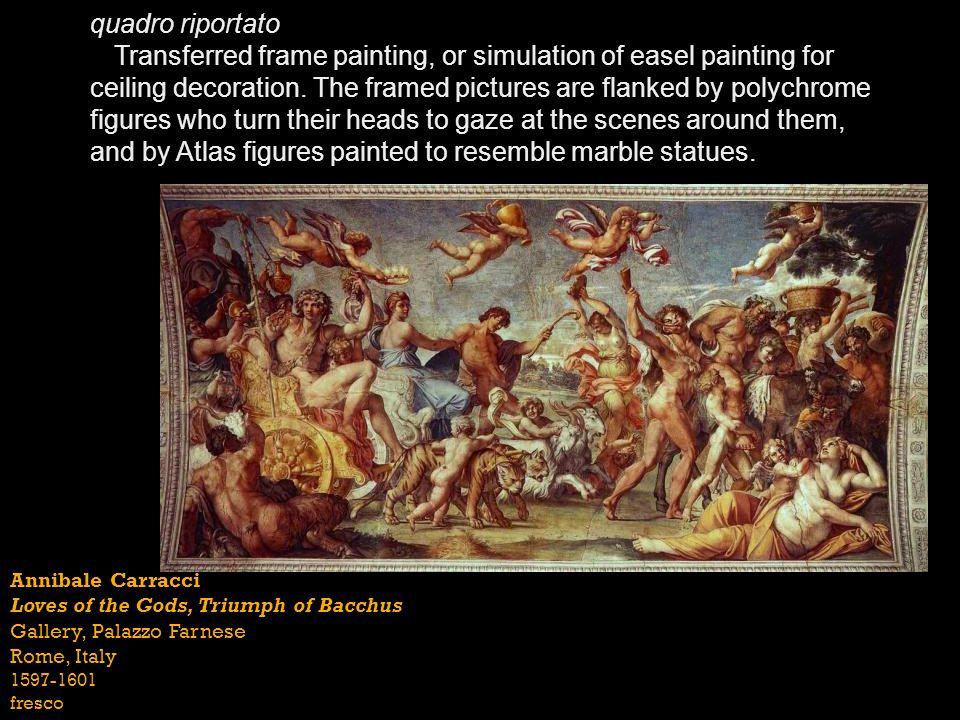 Annibale Carracci Loves of the Gods, Triumph of Bacchus Gallery, Palazzo Farnese Rome, Italy 1597-1601 fresco quadro riportato Transferred frame paint