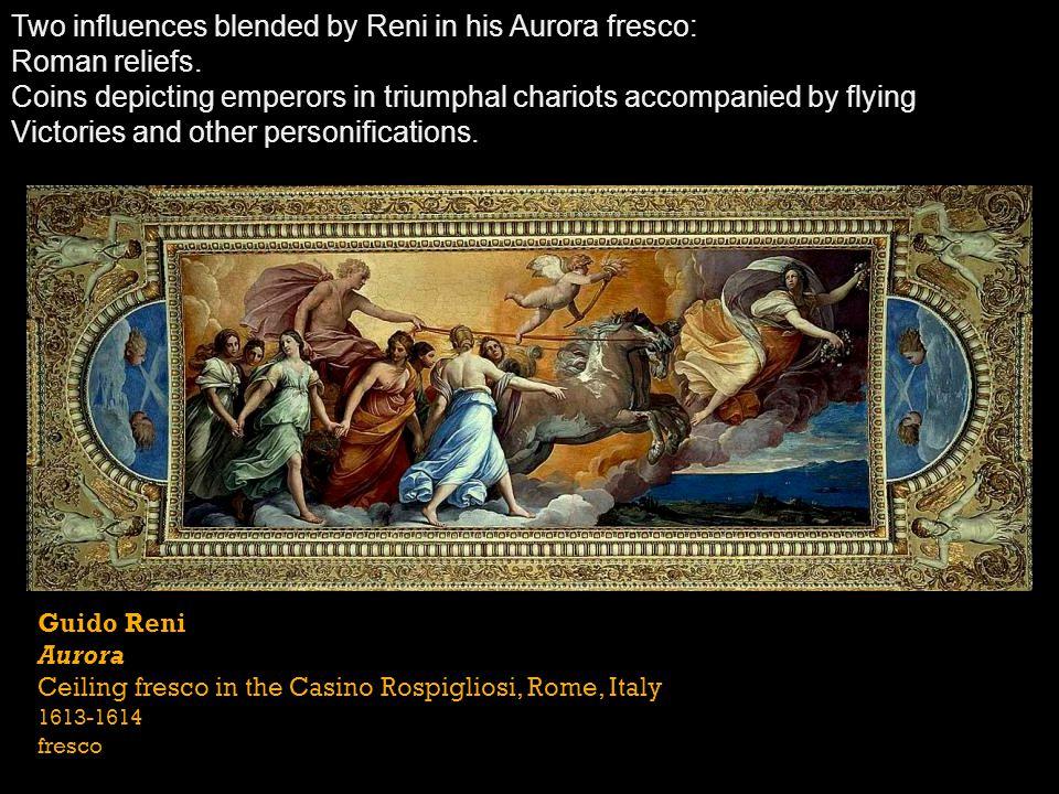 Guido Reni Aurora Ceiling fresco in the Casino Rospigliosi, Rome, Italy 1613-1614 fresco Two influences blended by Reni in his Aurora fresco: Roman re