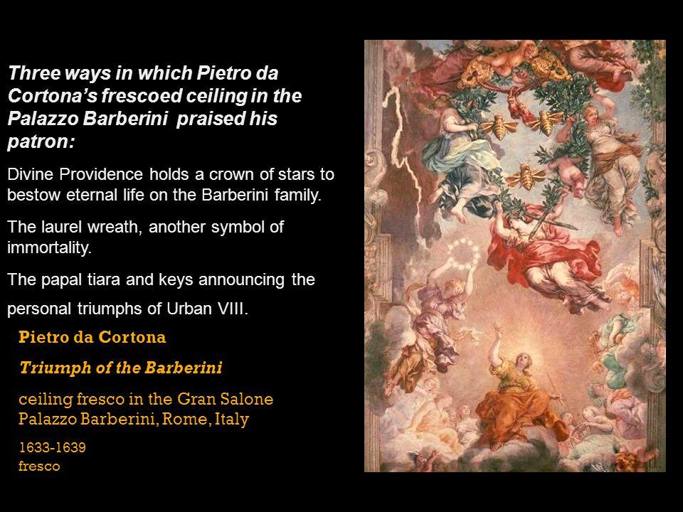 Pietro da Cortona Triumph of the Barberini ceiling fresco in the Gran Salone Palazzo Barberini, Rome, Italy 1633-1639 fresco Three ways in which Pietr