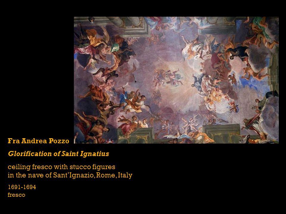 Fra Andrea Pozzo Glorification of Saint Ignatius ceiling fresco with stucco figures in the nave of SantIgnazio, Rome, Italy 1691-1694 fresco