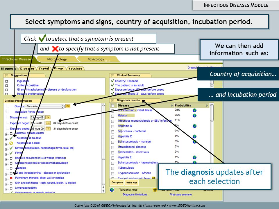 We can then add information such as: … and Incubation period Click to select that a symptom is present and to specify that a symptom is not present Co