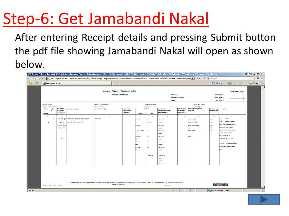 After entering Receipt details and pressing Submit button the pdf file showing Jamabandi Nakal will open as shown below. Step-6: Get Jamabandi Nakal
