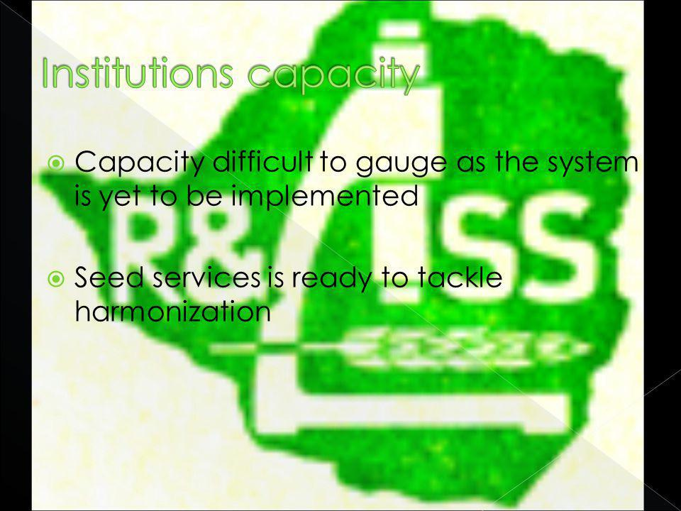 Capacity difficult to gauge as the system is yet to be implemented Seed services is ready to tackle harmonization