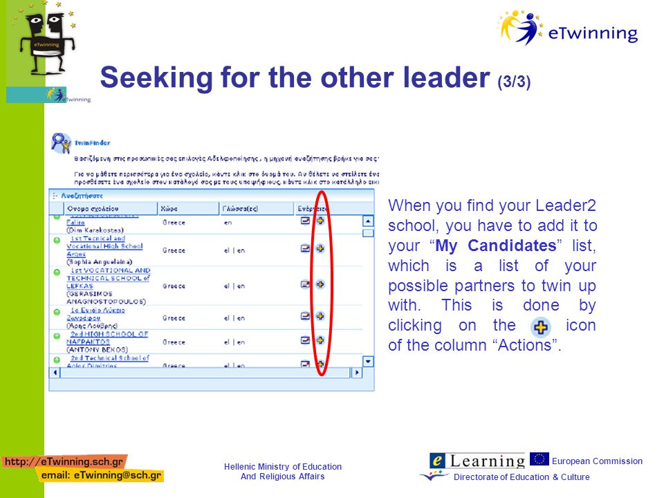 Hellenic Ministry of Education And Religious Affairs European Commission Directorate of Education & Culture Seeking for the other leader (3/3) When you find your Leader2 school, you have to add it to your My Candidates list, which is a list of your possible partners to twin up with.