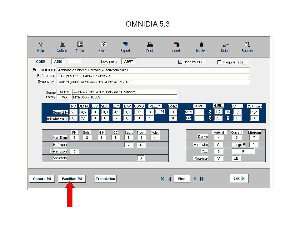OMNIDIA 5.3 Details of ecological values.