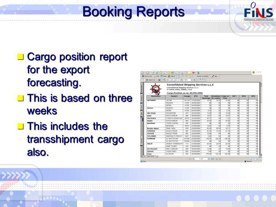 Booking Reports Cargo position report for the export forecasting.