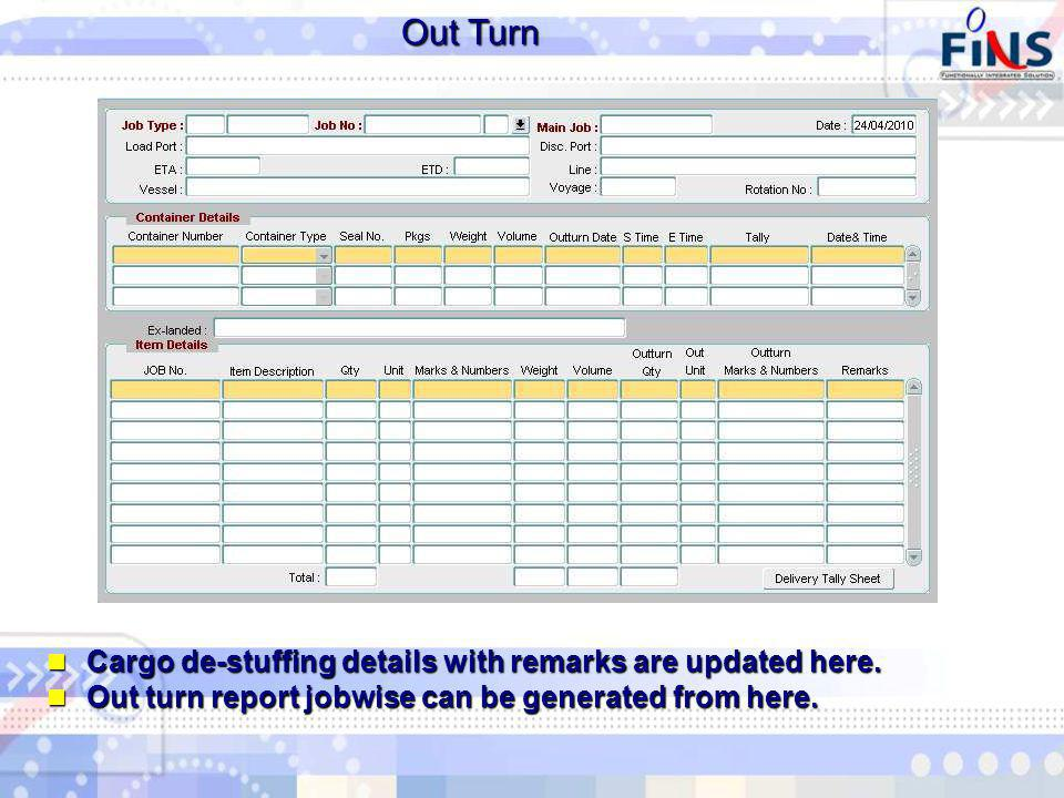 Out Turn Cargo de-stuffing details with remarks are updated here.