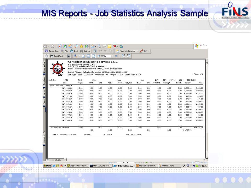MIS Reports - Job Statistics Analysis Sample MIS Reports - Job Statistics Analysis Sample