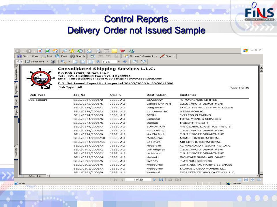 Control Reports Delivery Order not Issued Sample