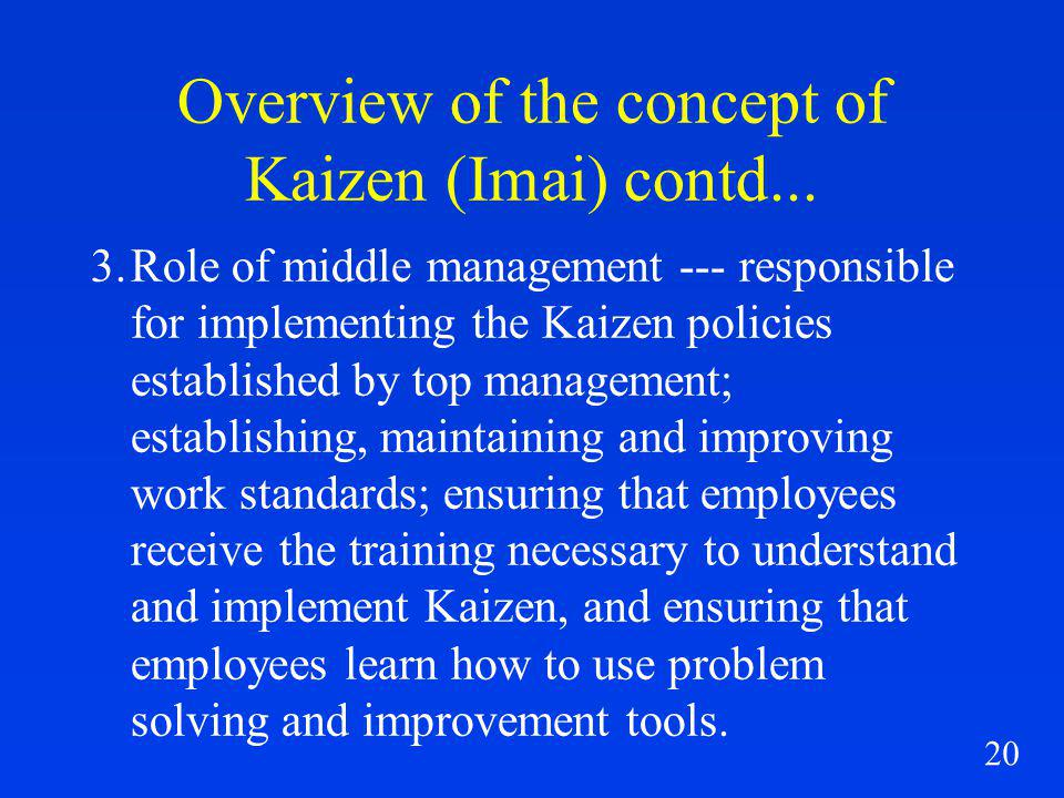 20 Overview of the concept of Kaizen (Imai) contd...