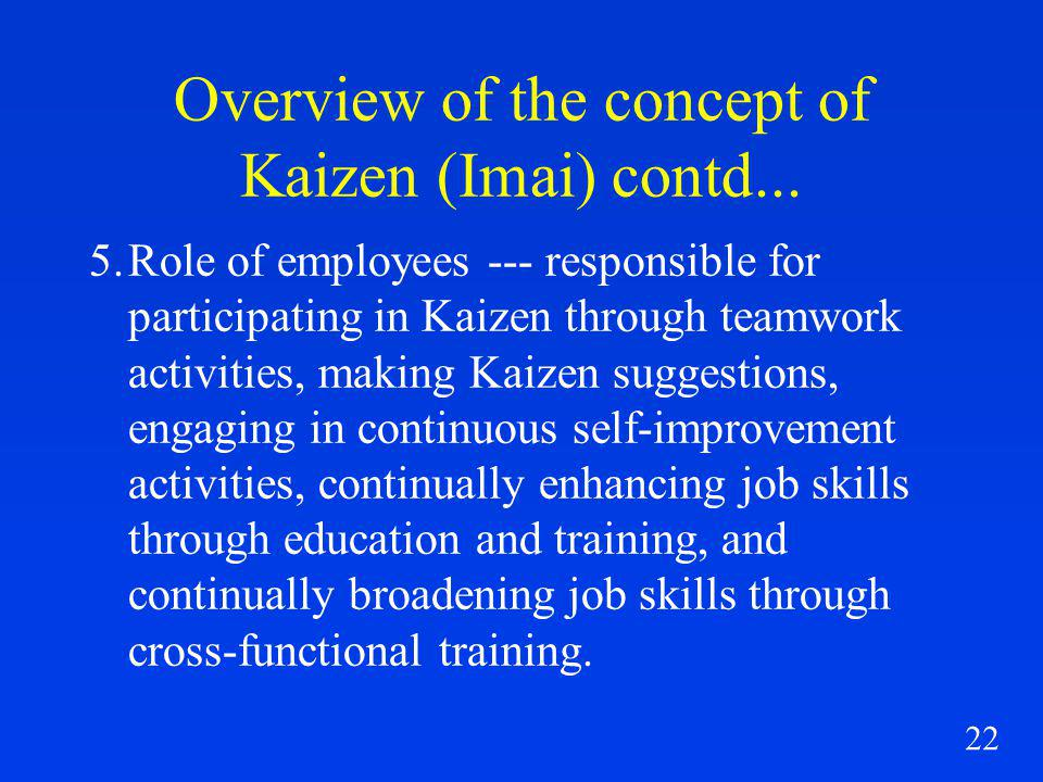 22 Overview of the concept of Kaizen (Imai) contd...